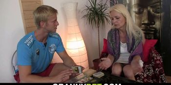 Blonde-haired skinny granny rides big meat