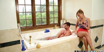 Bathing masseuse sprayed