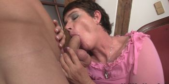 Cock-hungry mother-in-law rides his dick