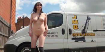 Daring outdoor masturbation of flashing english amateur