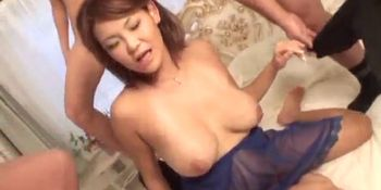 Busty Rui Horie screams with so many cocks in her holes