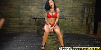 Hot tattooed slut gets machine fucked