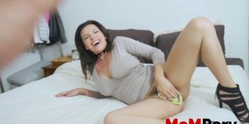 Stockinged stepmom Danica Dillon bent over and slammed hard