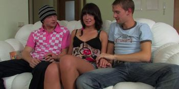 Two dudes cum on a teen brunette