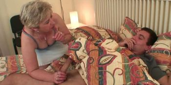 She finds her old mother riding dick