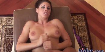 Kinky handjob session with a slutty brunette