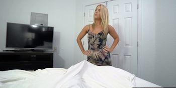 Blonde nasty MILF stepmom takes care of a lazy stepson