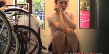 Japanese beauty taped up skirt while shopping