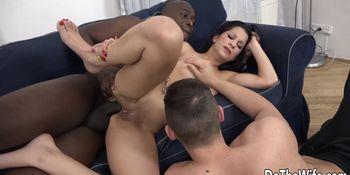 Brunette wife Jocelyne Black takes big black cock up her ass