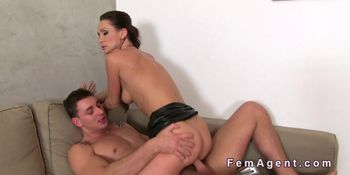 Fit female agent gets doggy style in office