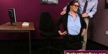 Brunette secretary facial