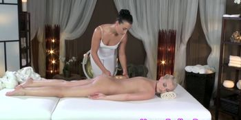 Elegant lesbian massage with two euro models