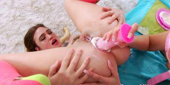 Lesbian enema babes love dildoing