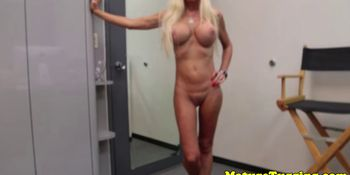 Mature stripping stepmom facialized during hj