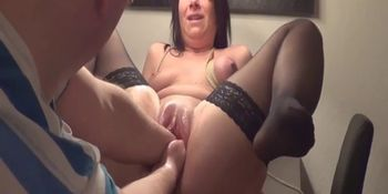 Teen slut double fisted in her ruined pussy