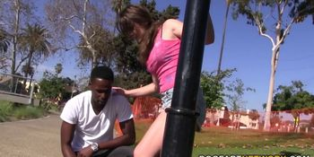 Eden Young Rubs A Black Cock With Her Feet