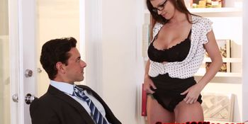 Busty secretary getting fucked on table doggystyle