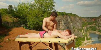 Twink gets oiled up and smashed hard on the massage table