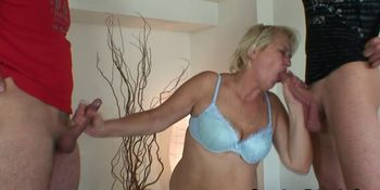 Old cleaning woman in threesome orgy