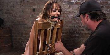 Busty bondage sub punished with vibrator