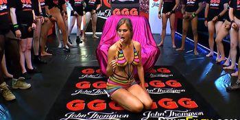 Kinky slut guzzles jizz
