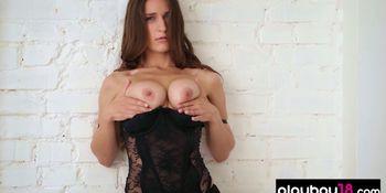 European natural busty beauty Elina sensual striptease