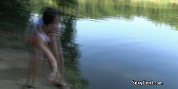 Lesbians flshing in public forest