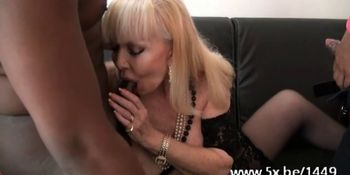 French cougar Irma fucked in a threesome