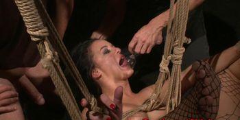 Alluring babe tastes maledoms piss