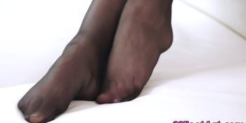 Foot worshipped cute babe