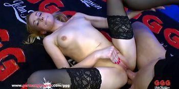 Cum Covered MILF in Bukkake Arena - German Goo Girls