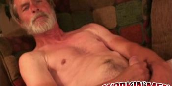 Naughty grandpa watches porn while jacking off