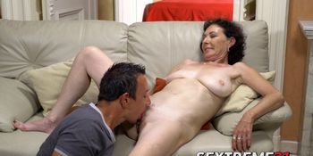 Thought provoking mature granny bounces on a young dick
