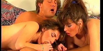 Hot German nymphs having a retro threesome