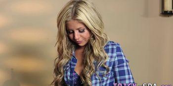 Massaged blonde gets plowed