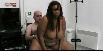 Ebony fatty pleases her future boss