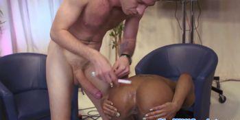 Ebony pornstar Kiki Minaj fucked on a tv show