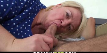 Picked up busty blonde granny rides his cock