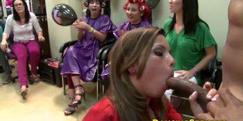 Big black stripper cock blown at hairdresser salon party