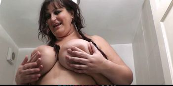 Huge titted bitch rides stranger's cock in the restroom
