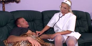 Blonde nurse fucking in white stockings and heels