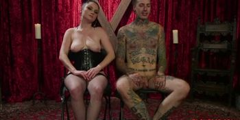 Domina ties and spanks tattooed porn actor
