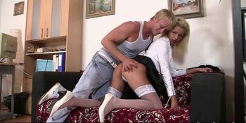 Blonde in uniform takes extreme rough fuck