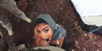 Arab Whore With Mouth And Hands Full Of Cock Outdoors