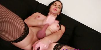 Leather Marissa Minx teases with solo anal play