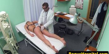Jerking blonde amateur examined by doctor
