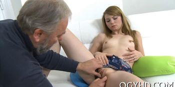 Young chick teased by old crock