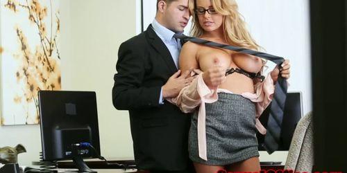 Busty office secretary fucked on bosses desk